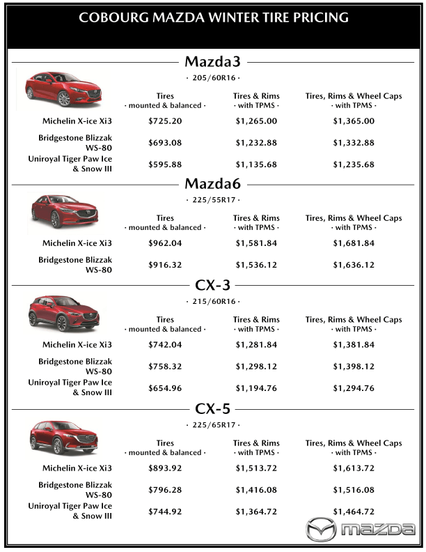 2019 Winter Tire Pricing January