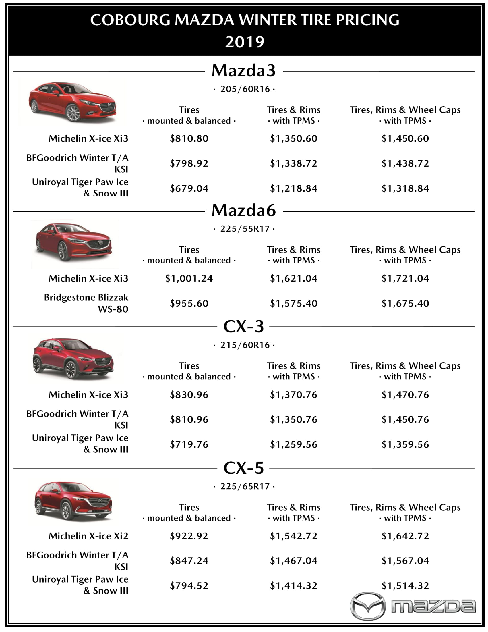2019 Winter Tire Pricing September-1