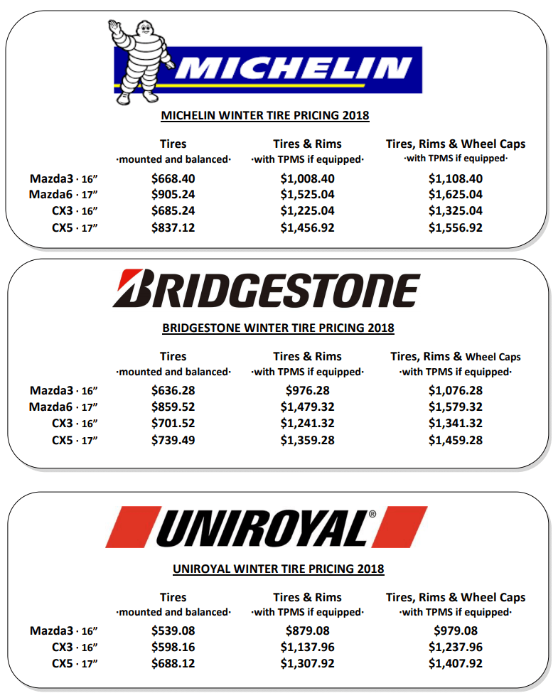 Winter Tire Specials